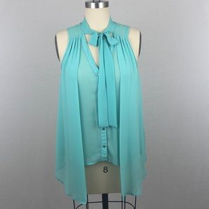 Love Culture Turquoise Chiffon Tank Top